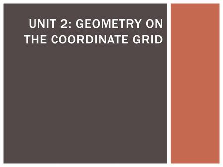 UNIT 2: GEOMETRY ON THE COORDINATE GRID.  Distance Formula  equation of a line  linear function  Midpoint Formula  point-slope form  rate of change.