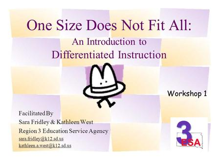 One Size Does Not Fit All: An Introduction to Differentiated Instruction Facilitated By Sara Fridley & Kathleen West Region 3 Education Service Agency.