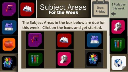 The Subject Areas in the box below are due for this week. Click on the Icons and get started. Subject Areas For the Week 5 Pods due this week Due: Friday.