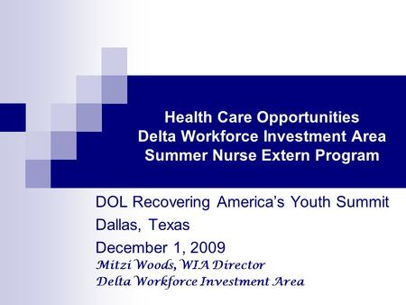 Health Care Opportunities Delta Workforce Investment Area Summer Nurse Extern Program DOL Recovering America's Youth Summit Dallas, Texas December 1, 2009.