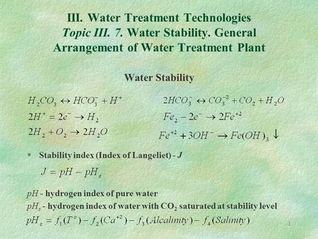 1 III. Water Treatment Technologies Topic III. 7. Water Stability. General Arrangement of Water Treatment Plant Water Stability §Stability index (Index.