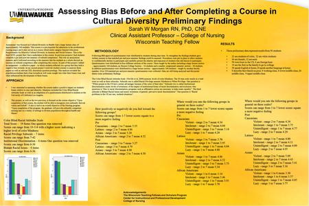 Assessing Bias Before and After Completing a Course in Cultural Diversity Preliminary Findings Sarah W Morgan RN, PhD, CNE Clinical Assistant Professor.