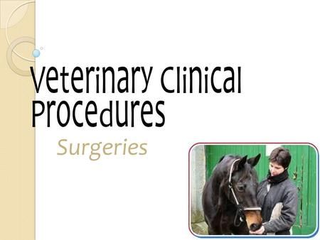 Veterinary Clinical Procedures Surgeries. The Surgery Team Surgery Team consists of a surgeon, an anesthetist (or a few sterile assistants-scrub nurse),