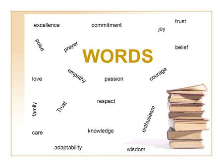 WORDS excellence love Trust respect joy knowledge prayer belief care courage commitment empathy enthusiasm adaptability trust family wisdom poise passion.