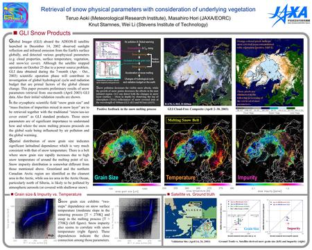 Retrieval of snow physical parameters with consideration of underlying vegetation Teruo Aoki (Meteorological Research Institute), Masahiro Hori (JAXA/EORC)