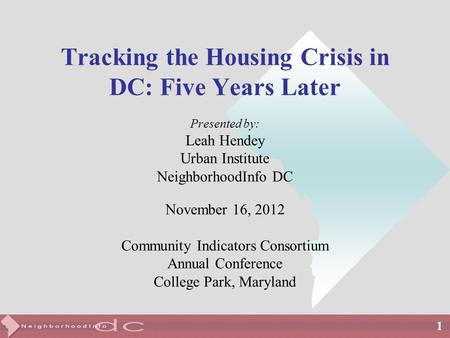 1 Tracking the Housing Crisis in DC: Five Years Later Presented by: Leah Hendey Urban Institute NeighborhoodInfo DC November 16, 2012 Community Indicators.