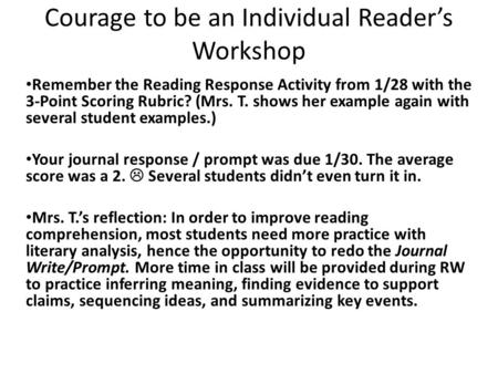 Courage to be an Individual Reader's Workshop Remember the Reading Response Activity from 1/28 with the 3-Point Scoring Rubric? (Mrs. T. shows her example.