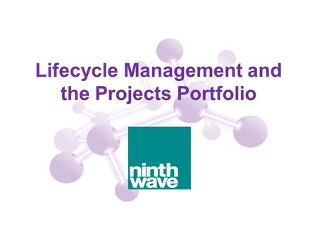 Lifecycle Management and the Projects Portfolio. 2 Agenda How project portfolio management fits within an overall lifecycle for managing the delivery.