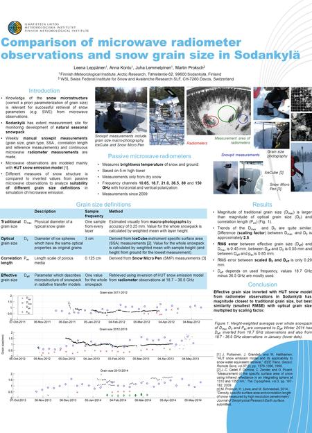 Introduction Knowledge of the snow microstructure (correct a priori parameterization of grain size) is relevant for successful retrieval of snow parameters.