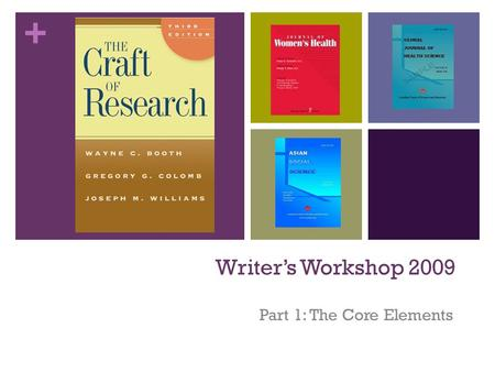 + Writer's Workshop 2009 Part 1: The Core Elements.