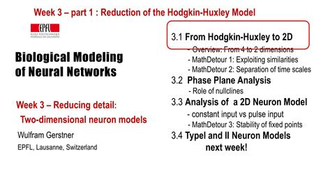 Biological Modeling of Neural Networks Week 3 – Reducing detail : Two-dimensional neuron models Wulfram Gerstner EPFL, Lausanne, Switzerland 3.1 From Hodgkin-Huxley.