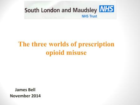 James Bell November 2014 The three worlds of prescription opioid misuse.