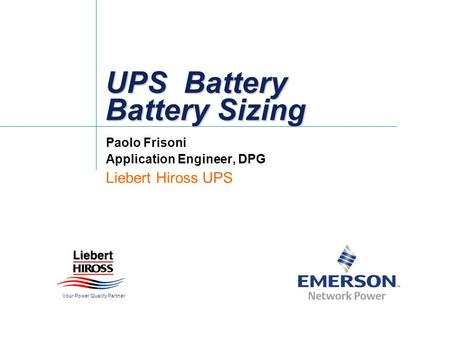 UPS Battery Battery Sizing
