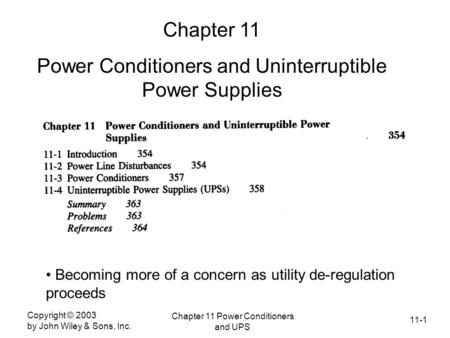 Power Conditioners and Uninterruptible Power Supplies