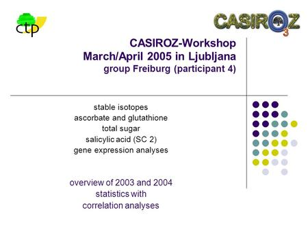 CASIROZ-Workshop March/April 2005 in Ljubljana group Freiburg (participant 4) stable isotopes ascorbate and glutathione total sugar salicylic acid (SC.