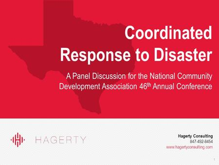 1 Hagerty Consulting 847-492-8454 www.hagertyconsulting.com Coordinated Response to Disaster A Panel Discussion for the National Community Development.