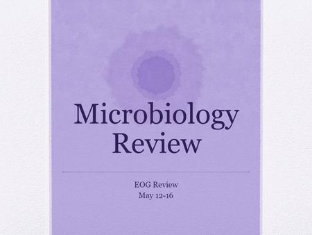 Microbiology Review EOG Review May 12-16. Microbe Small organism you can only see with a microscope Ex. Virus, bacteria, protist, protozoa.