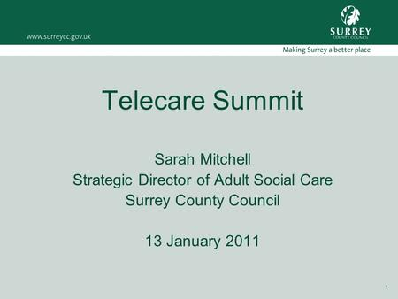 1 Telecare Summit Sarah Mitchell Strategic Director of Adult Social Care Surrey County Council 13 January 2011.