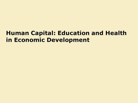 Why education matters for economic development