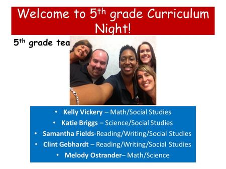 Welcome to 5 th grade Curriculum Night! 5 th grade team Kelly Vickery – Math/Social Studies Katie Briggs – Science/Social Studies Samantha Fields-Reading/Writing/Social.