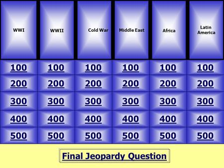 Final Jeopardy Question WWI WWII 100 Latin America Middle East Africa 500 400 300 200 100 200 300 400 500 400 300 200 100 Cold War.