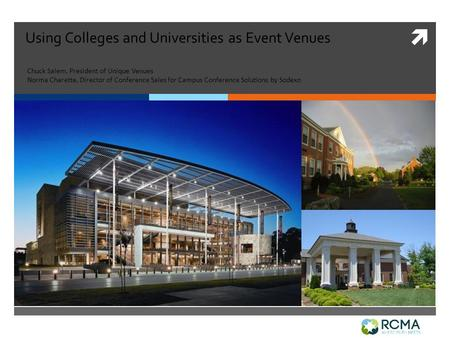  Using Colleges and Universities as Event Venues Chuck Salem, President of Unique Venues Norma Charette, Director of Conference Sales for Campus Conference.
