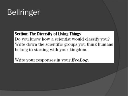 Bellringer. The Diversity of Living Things  Most scientists classify organisms into six kingdoms based on different characteristics. Members of the six.