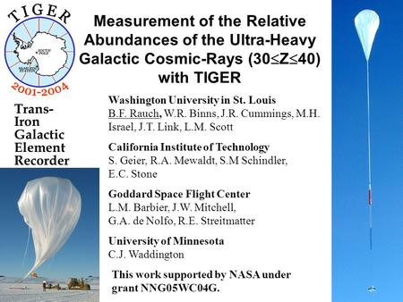 Measurement of the Relative Abundances of the Ultra-Heavy Galactic Cosmic-Rays (30  Z  40) with TIGER Washington University in St. Louis B.F. Rauch,