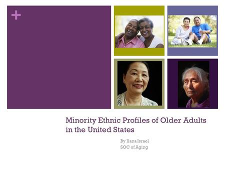 + Minority Ethnic Profiles of Older Adults in the United States By Ilana Israel SOC of Aging.