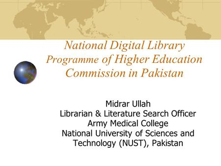 Midrar Ullah Librarian & Literature Search Officer