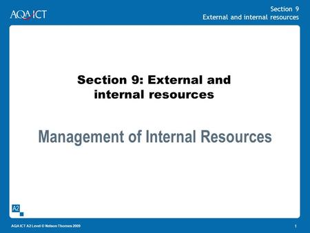 Section 9 External and internal resources AQA ICT A2 Level © Nelson Thornes 2009 1 Section 9: External and internal resources Management of Internal Resources.