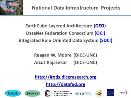 National Data Infrastructure Projects EarthCube Layered Architecture (GEO) DataNet Federation Consortium (OCI) integrated Rule Oriented Data System (SDCI)