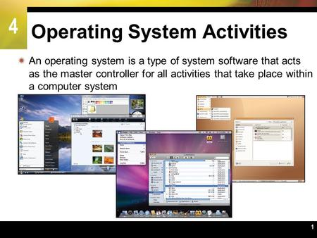 4 1 Operating System Activities  An operating system is a type of system software that acts as the master controller for all activities that take place.