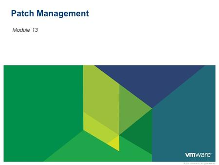 © 2010 VMware Inc. All rights reserved Patch Management Module 13.