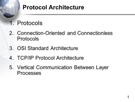 1 Protocol Architecture 1.Protocols 2.Connection-Oriented and Connectionless Protocols 3.OSI Standard Architecture 4.TCP/IP Protocol Architecture 5.Vertical.