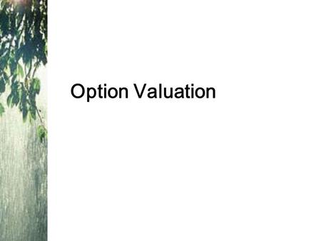 Option Valuation. Intrinsic value - profit that could be made if the option was immediately exercised –Call: stock price - exercise price –Put: exercise.