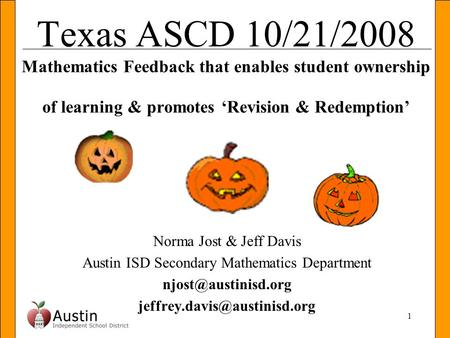 Austin ISD Secondary Mathematics Department
