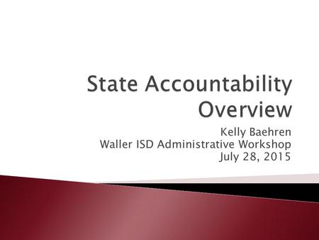 Kelly Baehren Waller ISD Administrative Workshop July 28, 2015.