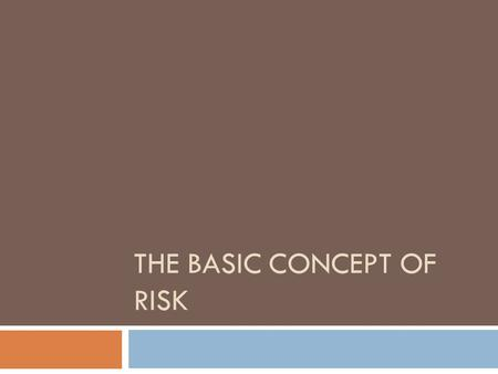 The Basic Concept Of Risk