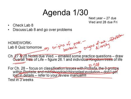 Agenda 1/30 Check Lab 8 Discuss Lab 8 and go over problems HOMEWORK- Lab 8 Quiz tomorrow Ch. 27 & 28 Notes due Wed. – emailed some practice questions –