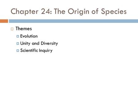 Chapter 24: The Origin of Species  Themes  Evolution  Unity and Diversity  Scientific Inquiry.