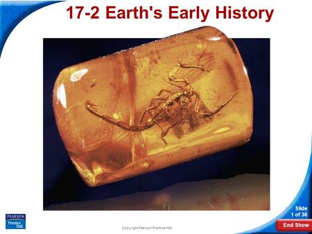 End Show Slide 1 of 36 Copyright Pearson Prentice Hall 17-2 Earth's Early History.