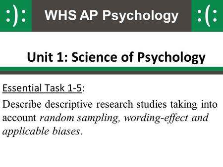 WHS AP Psychology Unit 1: Science of Psychology Essential Task 1-5: Describe descriptive research studies taking into account random sampling, wording-effect.