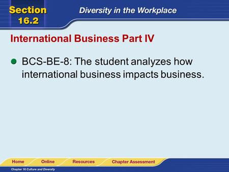 International Business Part IV BCS-BE-8: The student analyzes how international business impacts business.