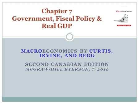 MACROECONOMICS BY CURTIS, IRVINE, AND BEGG SECOND CANADIAN EDITION MCGRAW-HILL RYERSON, © 2010 Chapter 7 Government, Fiscal Policy & Real GDP.