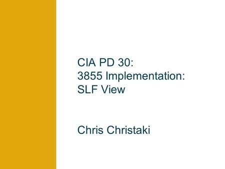 CIA PD 30: 3855 Implementation: SLF View Chris Christaki.