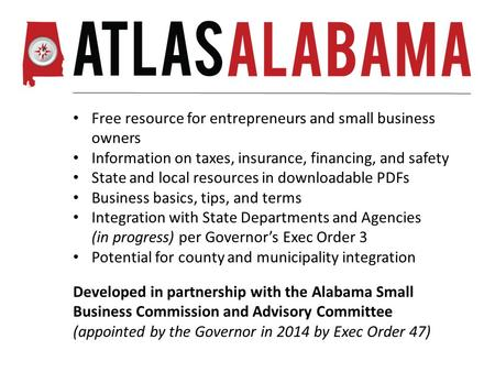 Free resource for entrepreneurs and small business owners Information on taxes, insurance, financing, and safety State and local resources in downloadable.
