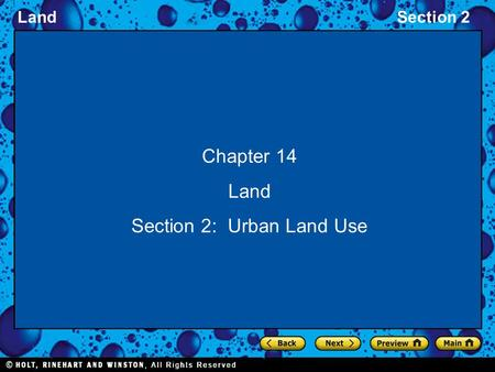 Section 2: Urban Land Use