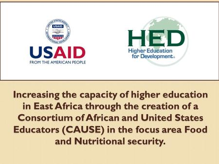 Increasing the capacity of higher education in East Africa through the creation of a Consortium of African and United States Educators (CAUSE) in the focus.