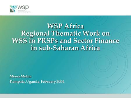 WSP Africa Regional Thematic Work on WSS in PRSPs and Sector Finance in sub-Saharan Africa Meera Mehta Kampala, Uganda, February 2004.